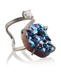 Fendi | Blue Palladiumplated Druzy and Crystal Ring | Lyst