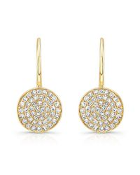 Anne Sisteron | 14kt Yellow Gold Diamond Disc Earrings | Lyst