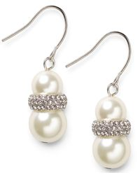 Lauren by Ralph Lauren - Metallic Silver-Tone Double Glass Pearl And Pave Crystal Drop Earrings - Lyst