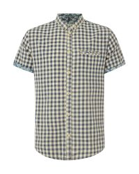 Blend - Blue Check Classic Fit Short Sleeve Button Down Shirt for Men - Lyst