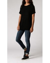 Anine Bing | Black Raw Hem T-shirt | Lyst