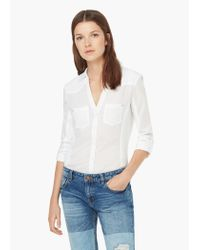 Mango - White Ribbed Panel Shirt - Lyst
