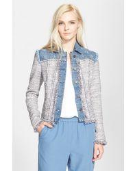 Rebecca Taylor - Blue Tweed & Denim Jacket - Lyst