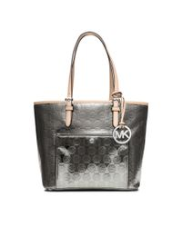 Michael Kors - Metallic Jet Set Medium Monogram Tote - Lyst