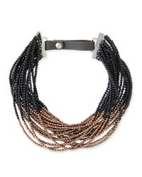 Brunello Cucinelli | Brown Agate Copper Beaded Choker Necklace | Lyst
