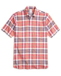 Brooks Brothers - Red Gingham Cotton Shirt for Men - Lyst