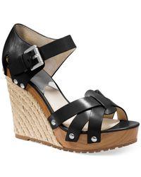 Michael Kors | Black Michael Somerly Platform Wedge Sandals | Lyst