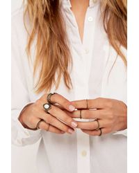 Urban Outfitters - Metallic Gold Stone Ring Set - Lyst