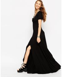 ASOS | Natural Lace Up Maxi Dress | Lyst