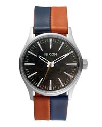 Nixon - Blue 'the Sentry 38' Leather Strap Watch for Men - Lyst
