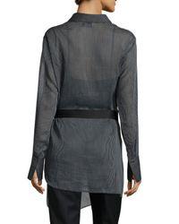 3.1 Phillip Lim - Black Striped Tunic Shirt With Belt - Lyst