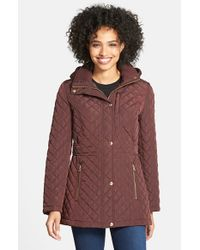 Calvin Klein   Brown Hooded Quilted Jacket   Lyst