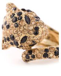 Roberto Cavalli - Blue Pavé Leopard Ring - Lyst