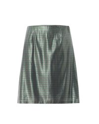 Marc Jacobs - Green Micro-plaid Silk-lamé Pencil Skirt - Lyst