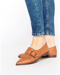 ASOS | Brown Memo Fringe Flat Shoes - Tan | Lyst