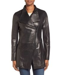Elie Tahari | Black 'claire' Asymmetrical Cutaway Leather Coat | Lyst