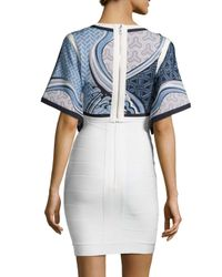 Hervé Léger | Blue Jacquard Stretch-Jersey Bandage Dress  | Lyst