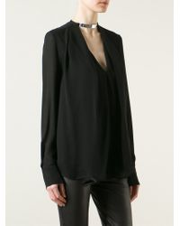 Plein Sud - Black Metallic Embellishment Pleated Blouse - Lyst