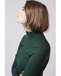TOPSHOP - Green Tall Ribbed Funnel Neck Top - Lyst