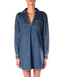 Saint Laurent - Blue Studded Denim Tunic Dress - Lyst