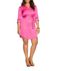 Lauren by Ralph Lauren - Pink Plus Military Zip-front Shirtdress - Lyst