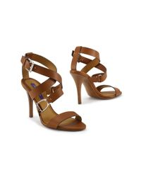 Ralph Lauren | Brown Calfskin Blair Sandal | Lyst