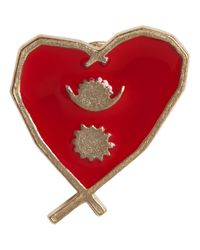 Agnes B. - Metallic Gold Heart Pin Népal - Lyst