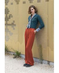 Agnes B. Orange Loose And Flowing Anne Blanchard Trousers