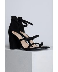 Akira - Black Look So Fine Chunky Heel Strappy Sandals - Lyst