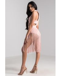 Akira - Pink Notice Me Fringe Party Romper - Lyst