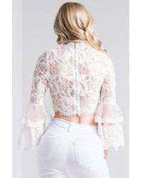 Akira - White Word Around Town Lace Crop Top - Lyst