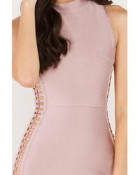 AKIRA - Pink Up To Ring Side Open Bandage Dress - Lyst