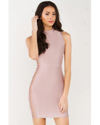 AKIRA - Pink Up To Ring Side Open Bandage Dress - Lyst