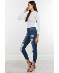 AKIRA - Blue Right Now Distressed Mid Rise Denim - Lyst