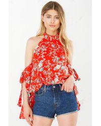 AKIRA - Red Wall Flower Cold Shoulder Longsleeve Top - Lyst