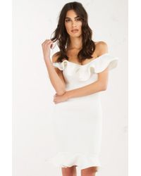 AKIRA - White Hold You Captivated Trumpet Dress - Lyst