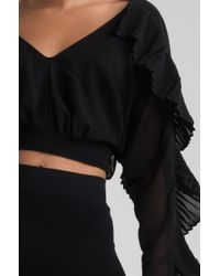 Akira - Black Follow Your Arrow Ruffle Sleeve Top - Lyst