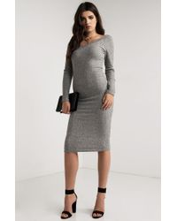 PAXTON | Gray Camden V Neck Midi Dress | Lyst