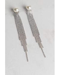 Akira - Metallic Fine Imitation Pearl Rhinestone Earring - Lyst