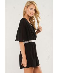Akira - Black Someone Like You Jewel Trim Romper - Lyst