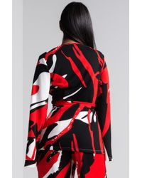 Akira - Red Abstract Art Tie Front Jacket - Lyst