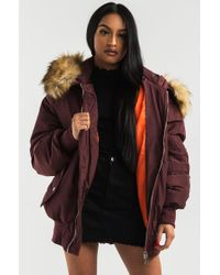Akira - Brown Be Present Faux Fur Hood Puffer Coat - Lyst