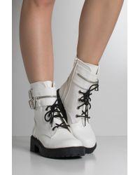 Akira - White Take Me Home Zipper Cuff Combat Boots - Lyst