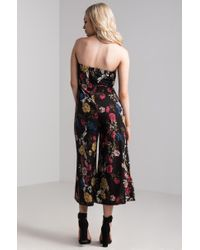 Akira - Black Foxglove Strapless Floral Jumpsuit - Lyst