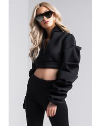 Akira - Black Turn It Up Oversized Sleeve Jacket - Lyst
