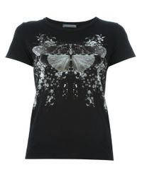 Alexander McQueen | Black Printed T-shirt | Lyst