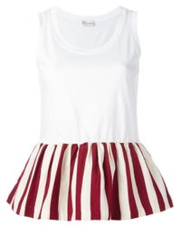 RED Valentino | White Pleated Trim Top | Lyst