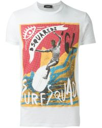 DSquared² | White Surf Squad T-shirt for Men | Lyst