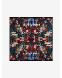 Alexander McQueen - Black Dripping Flower Silk Scarf - Lyst