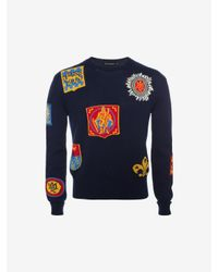 Alexander McQueen - Blue All Over Badge Jumper for Men - Lyst